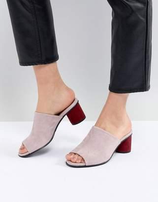 Selected Suede Mule With Contrast Heel