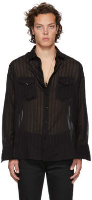 Saint Laurent Black Wool Two Pocket Shirt