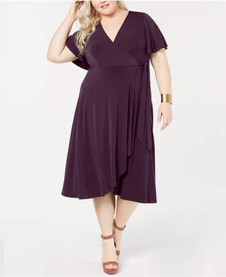 Soprano Trendy Plus Size Surplice Wrap Midi Dress
