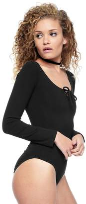 Juicy Couture Lace Up Long Sleeve Bodysuit