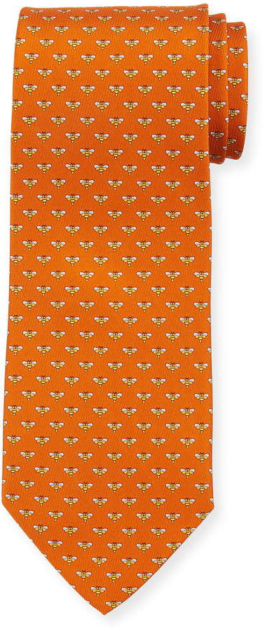 Salvatore Ferragamo Honeybee Silk Tie, Orange