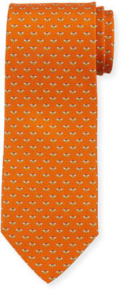 Salvatore Ferragamo Honeybee Silk Tie, Orange