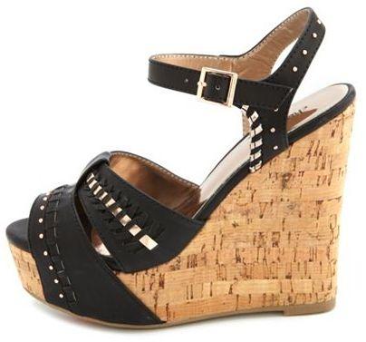 Charlotte Russe Metallic Woven Cork Wedge Sandal