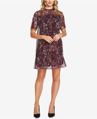 CeCe Floral-Print Ruffled A-Line Dress