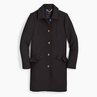 J.Crew Tall topcoat with ruffle pockets in Italian double cloth wool