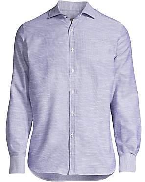 Canali Men's Faded Solid Linen Dress Shirt