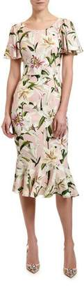Dolce & Gabbana Lily Print Flutter Sleeve Bodycon Dress