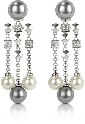 A-Z Collection Glass Pearl Drops Clip On Earrings