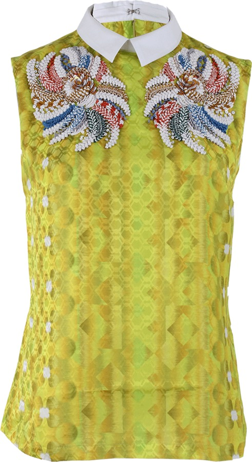 Peter Pilotto Sleeveless Sequin Embroidered Silk Blouse