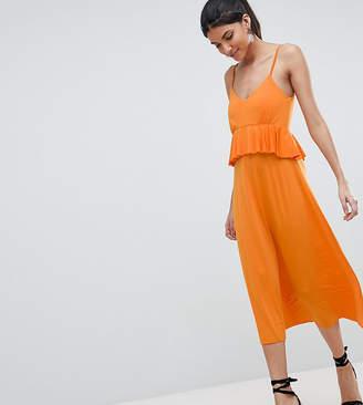 Asos Tall DESIGN Tall slinky midi sundress with waist ruffle