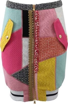 MOSCHINO Patchwork Tweed Pencil Skirt