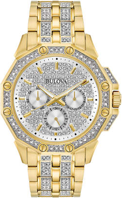 Bulova Men's Crystal Accented Gold-Tone Stainless Steel Bracelet Watch 43mm 98C126 $595 thestylecure.com