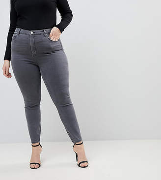Asos DESIGN Curve Ridley high waist skinny jeans in grey