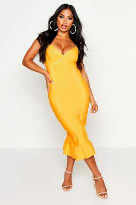 boohoo Boutique Sculpting Bandage Fishtail Midi Dress