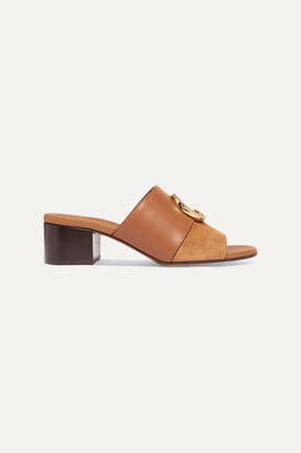 Chloé C Logo-embellished Leather And Suede Mules - Tan