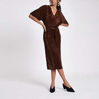 River Island Brown leopard print kimono sleeve dress