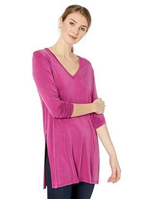 Majestic Filatures Women's Cupro/Stretch Long Sleeve V Neck with Deep Slits at Side