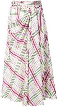 Prabal Gurung plaid tie front skirt