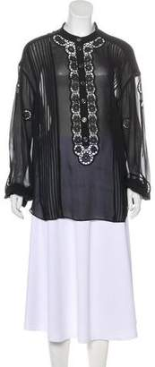 Temperley London Silk Embroidered Button-Up