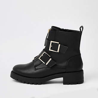 River Island Black buckle front zip chunky boots