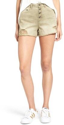 Women's Sun & Shadow Destroyed High Rise Denim Shorts $49 thestylecure.com