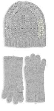 Badgley Mischka Pearl Embellished Hat & Glove Set
