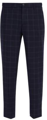 Altea Windowpane Checked Wool Blend Trousers - Mens - Navy