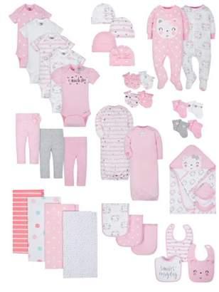 Gerber Organic Cotton Baby Shower Baby Essentials Set, 38-piece (Baby Girls)