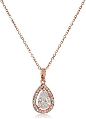 14k Plated 925 Sterling Silver AAA Cubic Zirconia Halo Teardrop Pendant Necklace