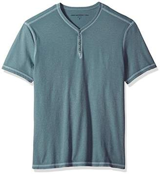 John Varvatos Men's Reverse Print Soft Collar Henley with Peace Si