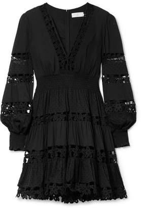 Zimmermann Primrose Daisy Crochet-trimmed Swiss-dot Cotton Mini Dress - Black