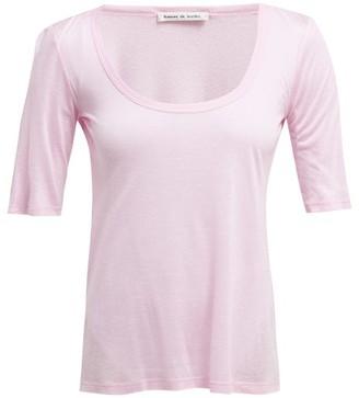 Frances De Lourdes - Sophie Slubbed Jersey Scoop Neck T Shirt - Womens - Light Pink