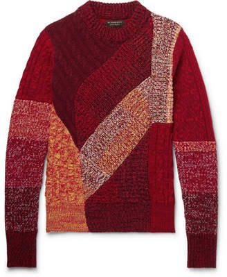 Burberry Patchwork Ribbed and Cable-Knit Cashmere and Wool-Blend Sweater