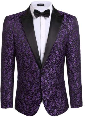 COOFANDY Men's Floral Party Dress Suit Stylish Dinner Jacket Wedding Blazer Prom Tuxedo