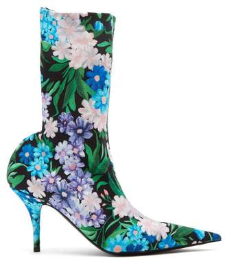 Balenciaga Wild Flower Printed Knife Bootie - Womens - Blue Multi