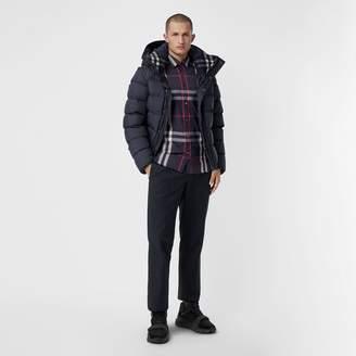 Burberry Check Stretch Cotton Shirt , Size: XL, Blue