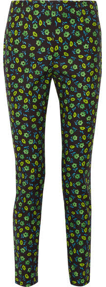 Prada - Floral-print Stretch-cotton Skinny Pants - Midnight blue