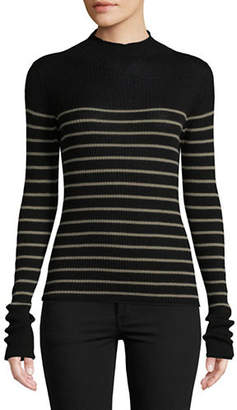 Vince Striped Roll Edge Sweater
