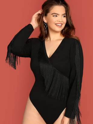 Shein Plus Fringe Detail Form Fitting Bodysuit