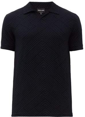 Giorgio Armani Geometric Flocked Print Jersey Polo Shirt - Mens - Blue