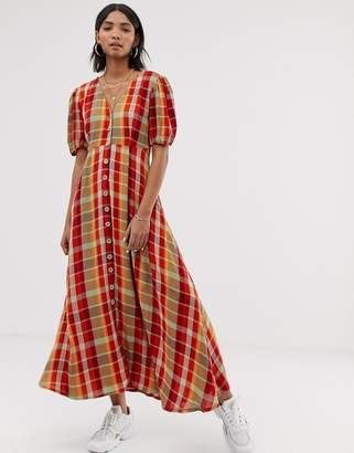 Neon Rose maxi tea dress with puff sleeves in bold check