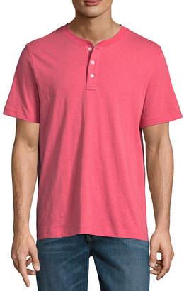 ST. JOHN'S BAY Mens Henley Neck Short Sleeve Henley Shirt