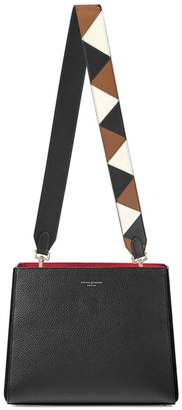 Aspinal of London Small Ella Hobo In Black Pebble With Zig Zag Strap