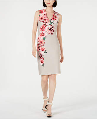 Calvin Klein Pearl-Embellished Printed Sheath Dress