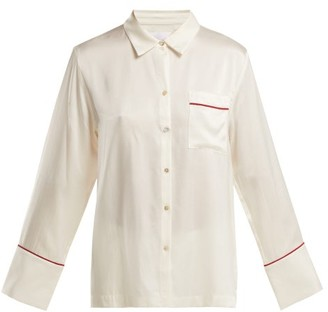 Asceno - Patch Pocket Silk Pyjama Top - Womens - White Multi