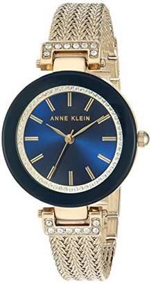Anne Klein Women's AK/1906NVGB Swarovski Crystal Accented Gold-Tone Mesh Bracelet Watch
