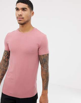 Asos Design DESIGN organic muscle fit t-shirt with crew neck in pink