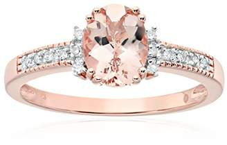 Rose Gold-plated Silver Morganite And Diamond Accented Solitaire Engagement Ring