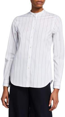Aspesi Striped Button-Down Long-Sleeve Poplin Shirt w/ Mandarin Collar