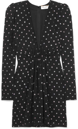 Saint Laurent Glittered Polka-dot Crepe Mini Dress - Black
